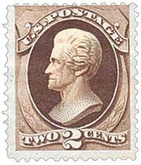 1873 2c Jackson, brown