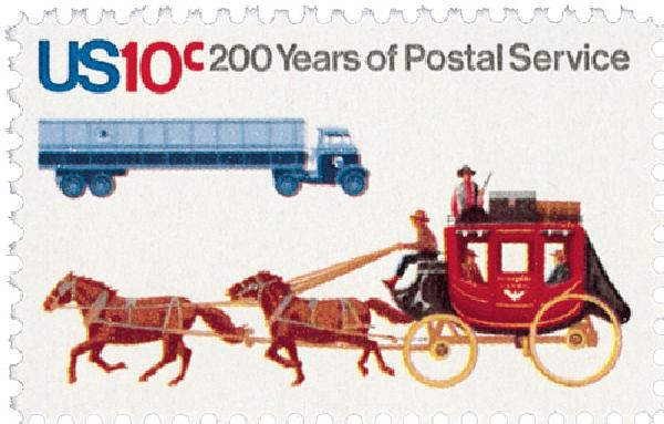 1975 10c U.S. Postal Services Bicentennial: Stagecoach and Tractor Trailer