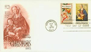 1975 10¢ Christmas stamps First Day Cover