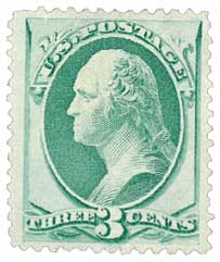 1873 3c Washington, green