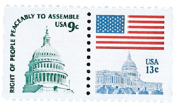 1977 9c Capitol Dome & 13c Flag