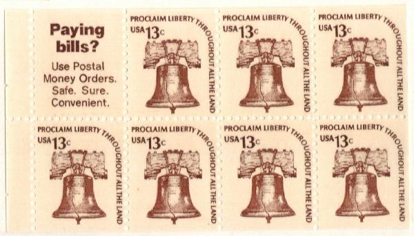 1975 13c Liberty Bell,bklt pane 7+lbl