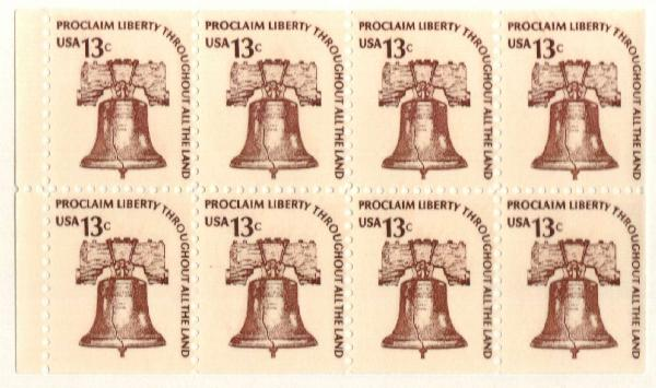 1975 13c Liberty Bell,bklt pane of 8