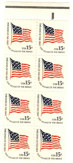 1978 15¢ Fort McHenry Flag, booklet pane of 8