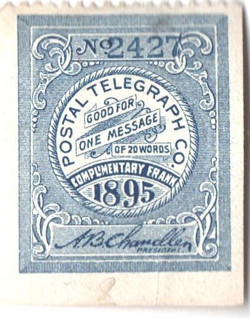 1895 Postal Telegraph Co. Stamp - blue, perf 12