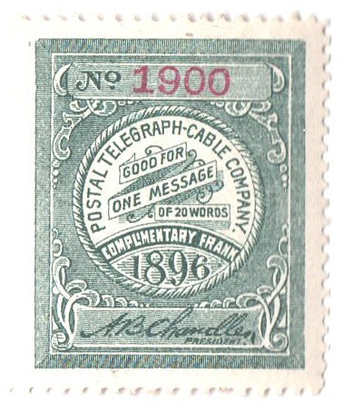 1896 Postal Telegraph Co. Stamp - slate-green, perf 12
