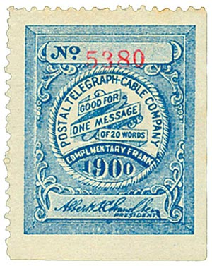 U.S. #15T20 – Telegraph stamp for Postal Telegraph Cable Company.