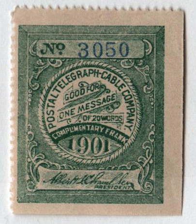 1901 Postal Telegraph Co. Stamp - sea green, perf 14,
