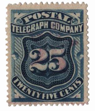 "1885 25c bl,perf 14,""Postal Tel."""