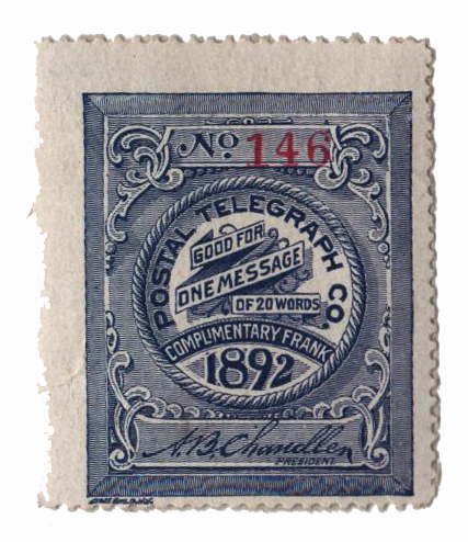 1892 Postal Telegraph Co. Stamp - blue-gray, perf 14