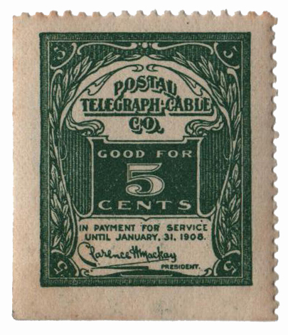 1907 5c Postal Telegraph-Cable Co, green