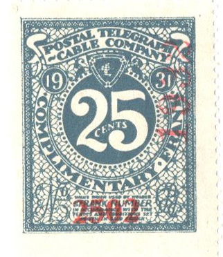 1931 25c Postal Telegraph-Cable Co. Stamp - gray-blue, perf 14