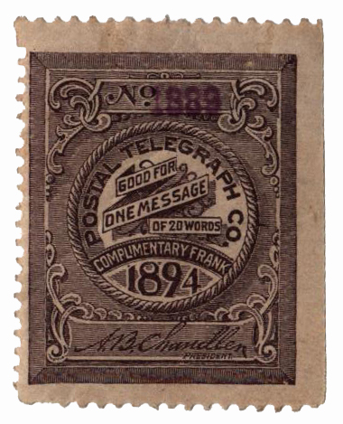 1894 Postal Telegraph Co. Stamp - violet-brown, perf 12