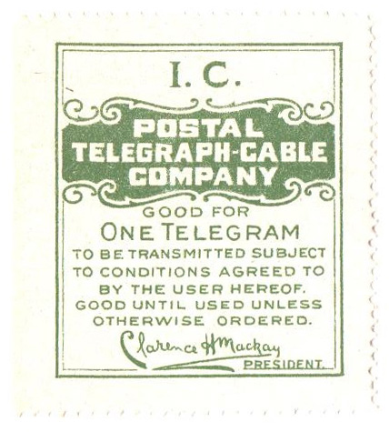 1914 Illinois Central Railroad Telegraph Stamp, dark green