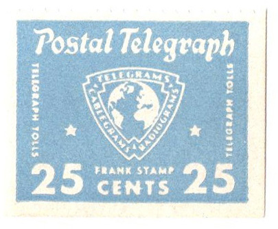 1942 25c Postal Telegraph Stamp, pale blue - issued to Armed Forces