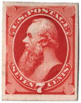 1873 7c orange vermilion, on card