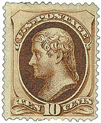 1873 10c Jefferson, brown