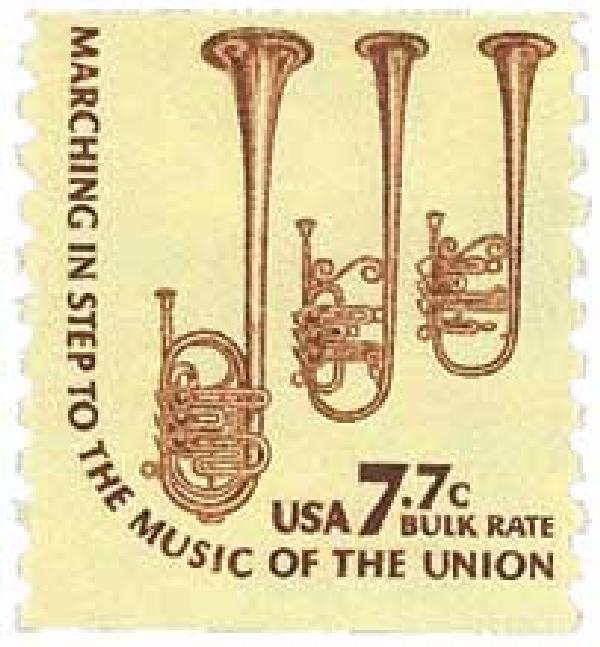 1976 7.7c Saxhorn, coil, perf. 10