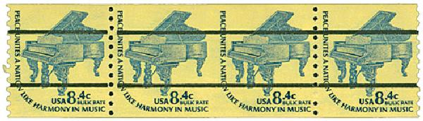1978 8.4c Grand Piano imprf between pair