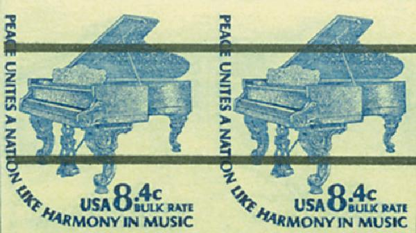 1978 8.4c Grand Piano, imperf pair