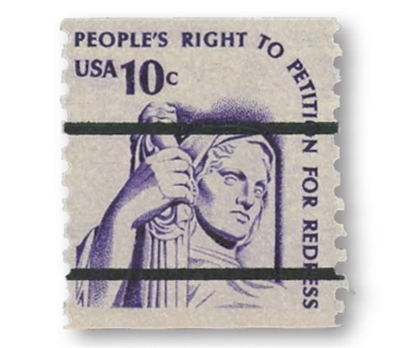 1977 10c Justice, coil, precancel
