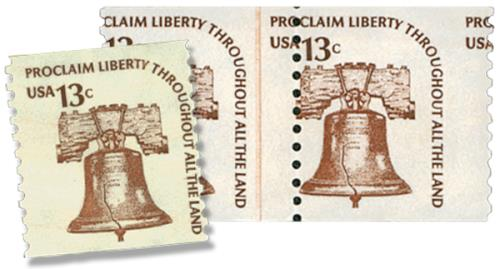 1975 13c Liberty Bell misperf & normal