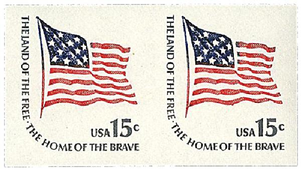 1978 15c Fort McHenry Flag, imperf pair