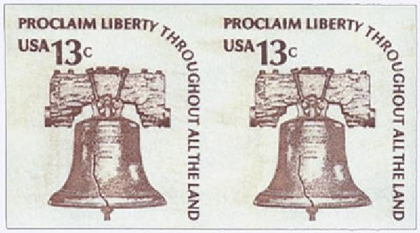 1975 13c Liberty Bell, imperf pair