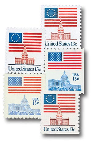Complete Set, 1975-81 US Rate Change, 5 stamps