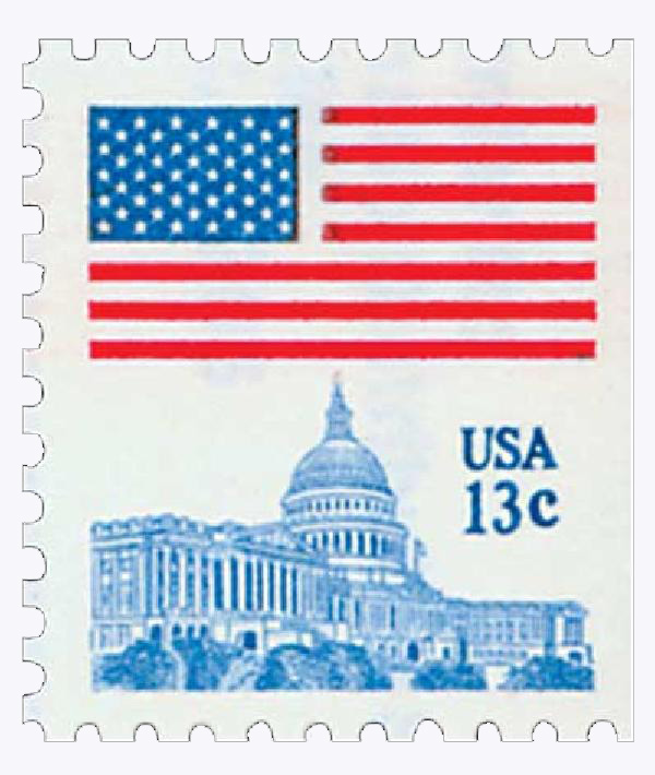 1977 13c Flag over Capitol from booklet