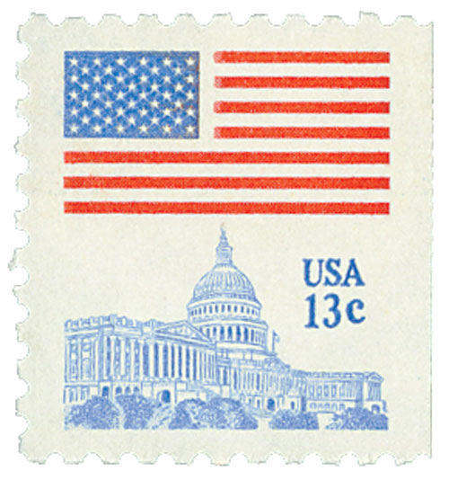 1977 13c Flag over Capitol, perf 10