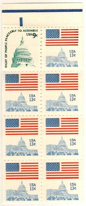 1977 Bklt. pane 8 (1-1590A + 7-1623B)