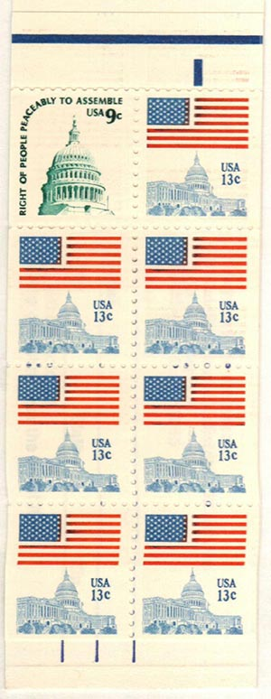 1977 9c Flag over Capitol and 13c Capitol Dome, booklet pane of 8 stamps