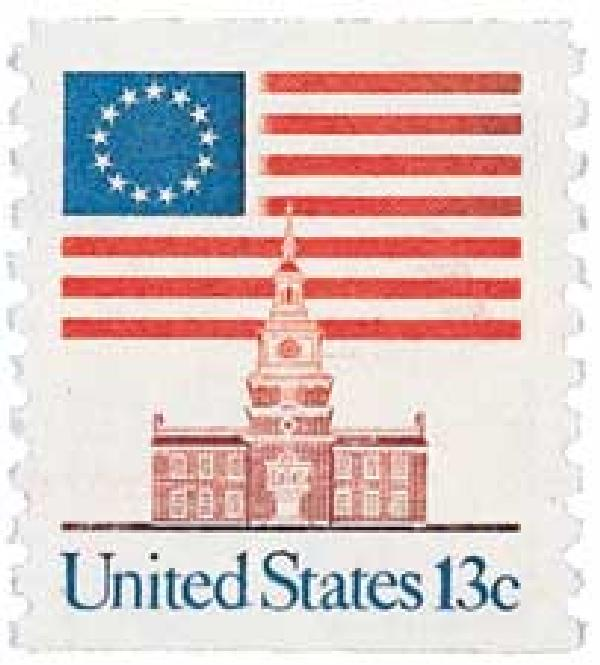1975 13c Flag/Independence Hall, coil