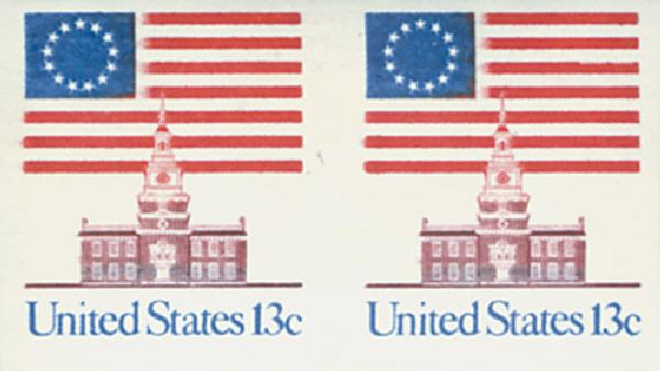 1975 13c Flag/Independence Hall,imprf pr