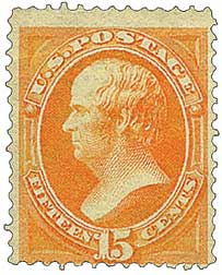 1873 15c Webster, yellow orange