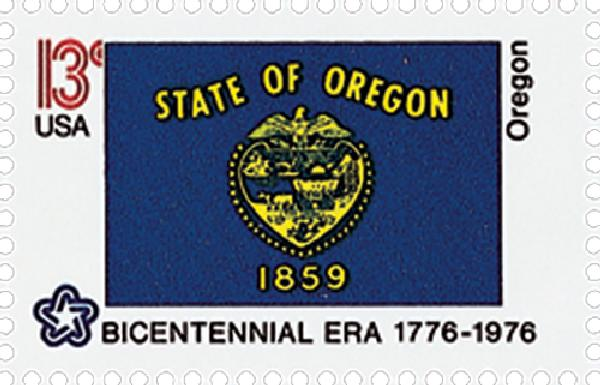 1976 13c Oregon State Flag