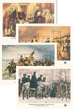 U.S. #1686-89 – Set of four Bicentennial Souvenir Sheets includes Washington Crossing the Delaware.