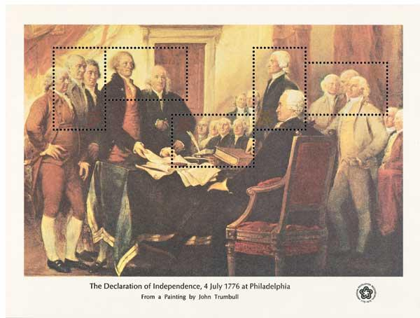 1976 Declaration of Independence souvenir sheet of 5