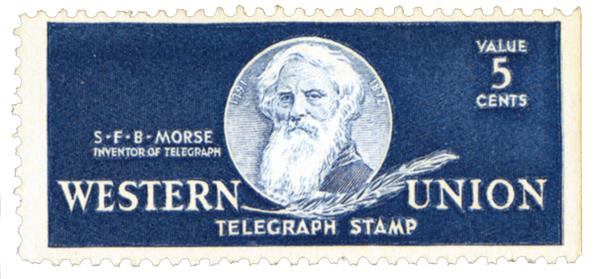 U.S. #16T101 – Western Union telegraph stamp picturing Samuel Morse.