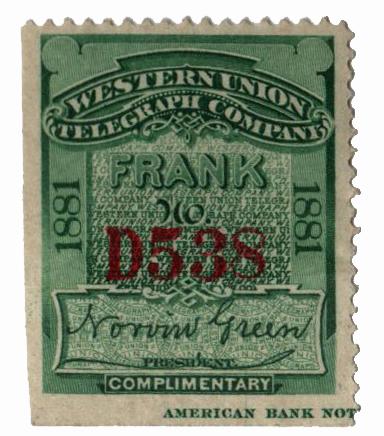 "1881 grn,perf 12, ""Green"""