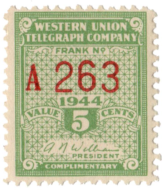 1944 5c light green, perf 12.5, Williams