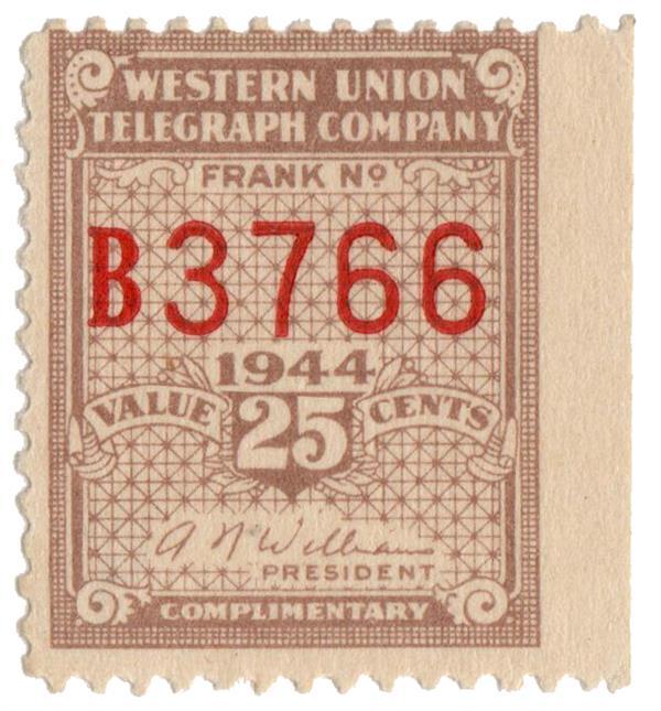 1944 25c buff, perf 12.5, Williams