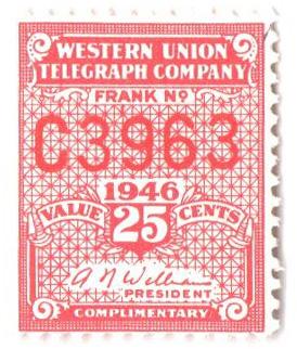 1946 25c rose pink, perf 12.5, Williams
