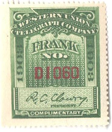 "1903 green, perf 14, ""Clowry"""