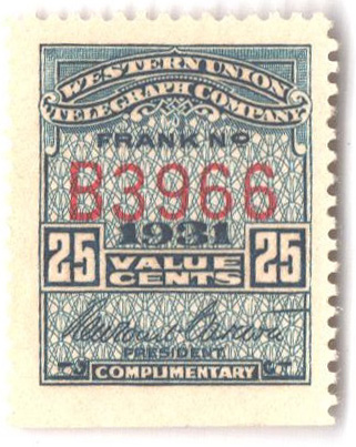 "1931 25c blue, perf 12, ""Carlton"""