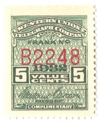 "1932 5c green, perf 12, ""Carlton"""