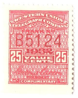 1932 25c rose carmine, perf 12, W. Union