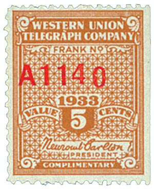 U.S. #16T83 – Western Union Telegraph stamp.