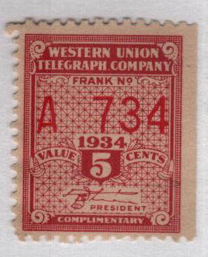 """1934 5c lake, perf 12,12.5, """"White"""""""